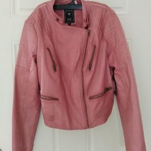 Guess pink leather moto jacket